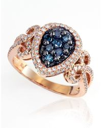 Effy Blue Diamond And 14k Rose Gold Ring, 0.91 Tcw