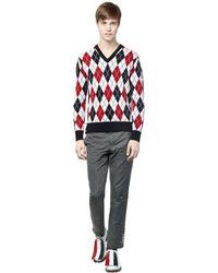 Moncler Gamme Bleu Blue Argyle Wool Jacquard Sweater for men