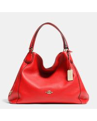 COACH Red Edie Shoulder Bag In Pebble Leather