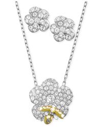 Swarovski | Metallic Rhodium-Plated Crystal Flower And Bee Stud Earrings And Pendant Necklace Set | Lyst
