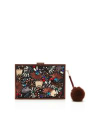 Monique Lhuillier Metallic Lily Embroidered Clutch