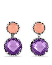 David Yurman | Purple Châtelaine Double Drop Earrings With Amethyst & Guava Quartz | Lyst