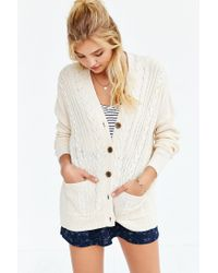 BDG - Natural Cayla Elbow Patch Cardigan - Lyst