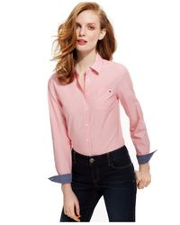 Tommy Hilfiger Pink Cornell Stripe Button-down Top