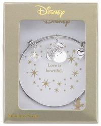 "Disney - Metallic ""i Love Minnie"" Crystal Charm Bangle Bracelet In Sterling Silver Plating And Stainless Steel - Lyst"