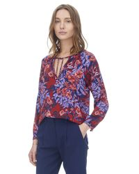 Rebecca Taylor | Purple Flame Of The Forest Print Tie Neck Top | Lyst