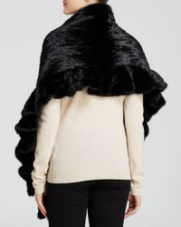 Maximilian - Black Mink Fur Knit Scarf With Ruffle And Rosette Trim - Lyst