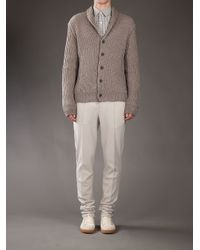 Lanvin - Gray Knitted Cardigan for Men - Lyst