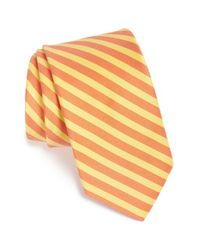 Ted Baker - Orange Stripe Cotton & Silk Tie for Men - Lyst