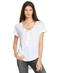 Free People | White Slub Knit Henley Tee | Lyst