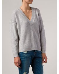 FRAME Gray Ribbed-Knit Cashmere Sweater