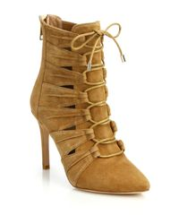 Joie | Brown Jelka Leather Lace-up Booties | Lyst