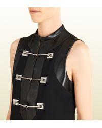 Gucci Black Horsebit and Leather Sleeveless Wool Dress