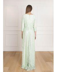 Elie Saab - Green Allover Bead 3/4 Sleeve Dress - Lyst