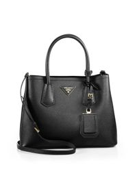 Prada - Black Saffiano Cuir Small Double Bag - Lyst