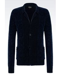 Emporio Armani - Blue Knit Jacket for Men - Lyst