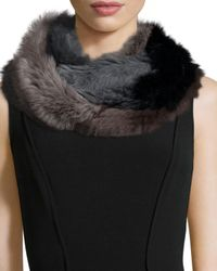 Jocelyn - Gray Patchwork Rabbit Fur Infinity Scarf - Lyst