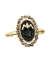 Alexis Bittar | Black Agate Cameo Cuff W/ Crystal Studded Crown & Pyrite Accent Bracelet | Lyst