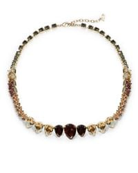 ABS By Allen Schwartz | Metallic Teardrop Stone Collar Necklace | Lyst