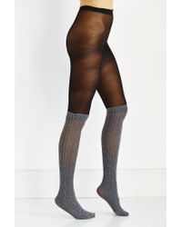 Urban Outfitters - Black Faux Sock Over-the-knee Tight - Lyst