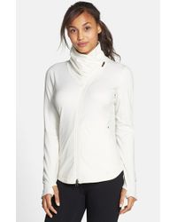 New Balance - White 'en Route' Ruched Zip Jacket - Lyst