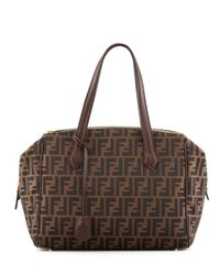 Fendi - Brown Zucca Triple-Zip Baulotto Bag - Lyst