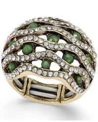 INC International Concepts | Gold-tone Green Pavé Stone Web Stretch Ring | Lyst