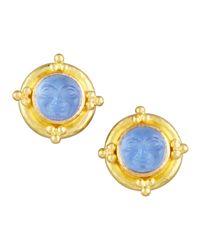 Elizabeth Locke - Blue Man-in-the-moon Intaglio Stud Earrings - Lyst