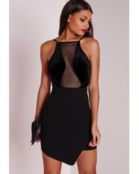 Missguided | Velvet Top Asymmetric Bodycon Dress Black | Lyst