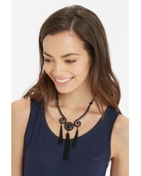 Oasis | Black Tassel And Stone Necklace | Lyst