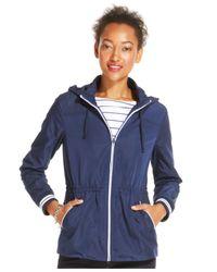 Tommy Hilfiger Blue Drawstring Hooded Jacket