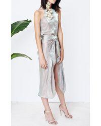 Kaelen Green Iridescent Satin Tie Front Skirt