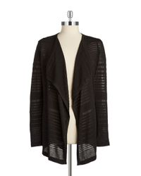 Calvin Klein | Black Striped Knit Cardigan | Lyst