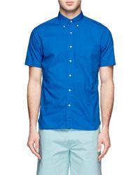 Beams Plus Blue Cotton Shirt for men