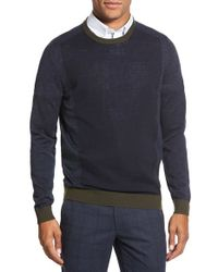 Ted Baker - Blue 'lewcat' Crewneck Merino Wool Sweater for Men - Lyst