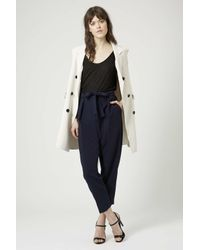 TOPSHOP   Blue Belted Crepe Peg Trousers   Lyst