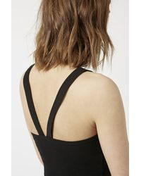 TOPSHOP - Black Cross-Back Halter Crop Top - Lyst