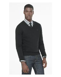 Express | Black Cotton V-neck Small Lion Sweater for Men | Lyst