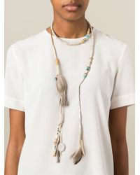 Etro Gray Long Wrap Feather Tassel Necklace