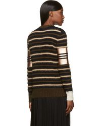 Givenchy Brown Black and Copper Striped Mohair Sweater