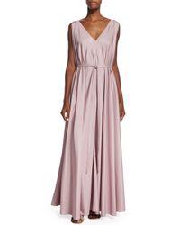The Row - Pink Silk Organza Self-belt Gown - Lyst