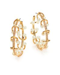 Eddie Borgo | Metallic 4mm White Pearl & Crystal Horseshoe Barbell Hoop Earrings/1.5 | Lyst