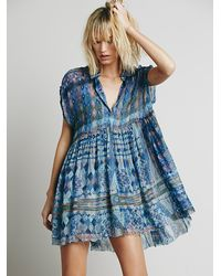 Free People Blue Womens Empire Extreme Shirt Dress