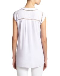 Rebecca Taylor - Purple Perforated V-neck Top - Lyst