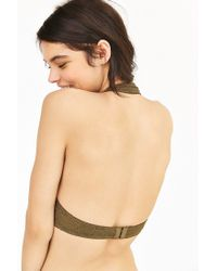 Pins And Needles - Green Geo Lace Halter Bra - Lyst