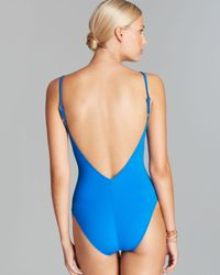 Gottex Blue Le Ribot V Neck Floating Underwire One Piece Swimsuit