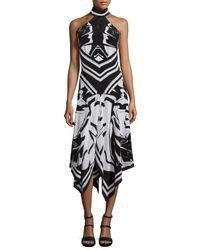 Roberto Cavalli - Black Silk Crepe De Chine Handkerchief Halter Dress - Lyst