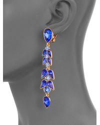 Oscar de la Renta | Blue Crystal Wisteria Linear Earrings | Lyst