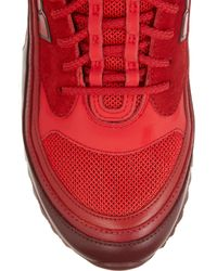 Valentino Red Cash & Rocket Stud-Embellished Suede And Leather Sneakers