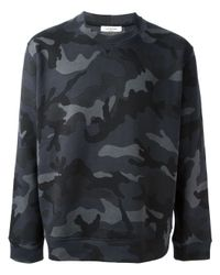 Valentino - Gray Camouflage Print Sweatshirt for Men - Lyst